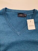 NWT  J CREW Men's Crew Neck Sweater Sz S Small Teal Cotton Blend