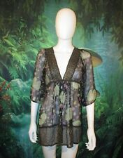 Lux Womens 100% Silk Sheer Floral Dress Multicolor size XS (B)