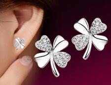925 Sterling Silver Fine Crystal Clover Stud Earrings Women Jewellery Gift