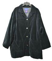 Denim & Co Women's Black Velvet Button Front Patch Pocket Long Sleeve Jacket 3X