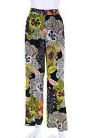 Etro Womens Floral Print Wide Leg Trousers Pants Green Pink Yellow Black Size 2
