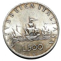 Italy 500 Lira Giampaoli Silver Coin Dated 1960 Christopher Columbus Italiana