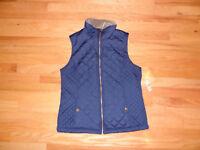 New Laura Scott Womens Lightweight Quilted Puffer Vest Blue M Medium Polyester