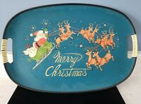 VINTAGE ANTIQUE MERRY CHRISTMAS SERVING TRAY 12x18 SANTA AND HIS REINDEERS