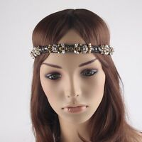 SILVER DIAMANTE BLACK CRYSTAL GOLD BEADED  HEADBAND FLAPPER GATSBY WED BRIDAL