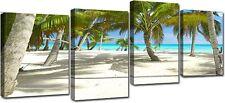 Quadro Moderno 4 Pezzi Stampa su Tela Cm 140x75 Arredo Arte Caraibi Mare Casa