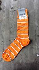 Pantherella Striped Cotton Men's Socks Papaya Orange - New