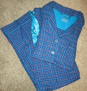 NWT XHILARATION BLUE PLAID cotton flannel lounge sleep pajama set sz S