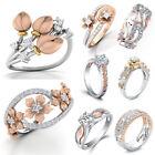 White Topaz 925 Silver Flower Elegant Fashion Woman Wedding Ring Gift Sz 6-10