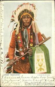Native American 1905 Chief Skin Cote A Selige Antique Postcard 1C stamp Vintage