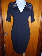 Victoria's Secret Moda International Black Ponte Eyelet Shift Dress Mesh 2 New