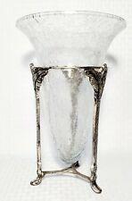 """Stunning Vintage Crackle Art Glass CANDLE HOLDER/ VASE Metal STAND HOLDER 10"""""""