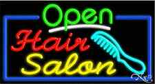 "NEW ""OPEN HAIR SALON"" 37x20x3 BORDER REAL NEON SIGN W/CUSTOM OPTIONS 15518"