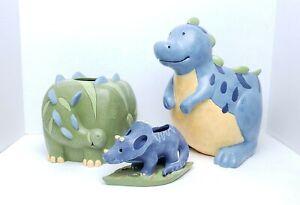 (3) Kids Dinosaur Bathroom Waste Basket/Trash Can/Toothbrush Holder/Tissue Cover