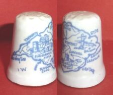 Isle of WIGHT MAP Thimble in Blue Sketch English Channel, I O W nr Hampshire