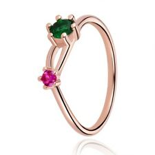 Round Green Emerald & Pink Ruby Minimalist Two Stone Wedding 925 Sterling Silver