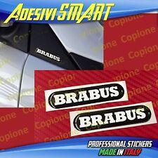 2 Adesivi Resinato Sticker 3D BRABUS Smart Nero Bianco Sportello Spechietto