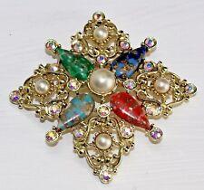 Vintage Sara Coventry Faux Marble Pearl & Aurora Borealis Rhinestone Pin Brooch