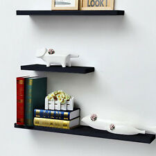 Home Deco Brown Floating Wall Shelf Bookshelf Display Storage With Coat Hook