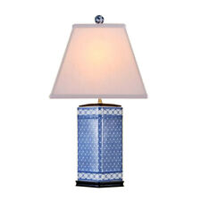 """Chinese Blue and White Porcelain Diamond Vase Patterned Table Lamp 26"""""""