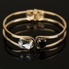 Women's Beauty Gold Plated Crystal Rhinestone Bangle Punk Cuff Bracelet Jewelry