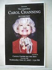 CAROL CHANNING IN CONCERT Playbill CAPITOL CENTER FOR THE ARTS Concord, NH 2007