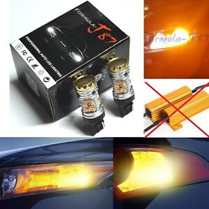 Hyper Flash Free LED Light 7441 Amber Two Bulbs Front Turn Signal Replace OE Fit