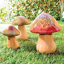 Ceramic Mushrooms Toadstools Pottery Garden Indoor Outdoor Ornaments Set Of 3