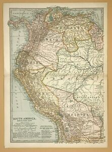 Original  Encyclopaedia Britannica Map from 1903 South America North West Part