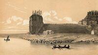 Lake Michigan Gros Cap shore c.1851 tinted lithographed view print