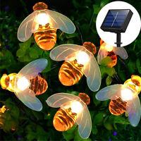 Solar 30Led Outdoor Waterproof String Lights 8 Modes Honey Bee Decor Garden 6.5m