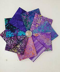 10 x Batik Hand Dyed Wax Print Metric Fat Quarters Purple