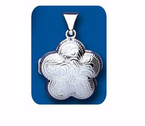 Sterling Silver Flower Locket Solid 925 Hallmark All Chain Lengths Brand New