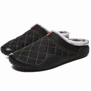 Men's Gingham Warm Indoor Slippers Short Plush Fur Casual Non-slip Home Shoes