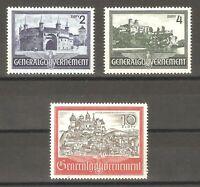 DR Nazi 3rd Reich Rare WW2 Stamp Set Castle Hitler's Occupation Poland Swastika