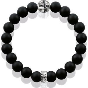 New Genuine Thomas Sabo Silver Karma & Black Obsidian Bracelet ref A1355 £119