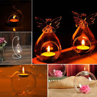 6X Chic Clear Glass Teardrop Round Angel Bauble Tealight Candle Holder Xmas Gift