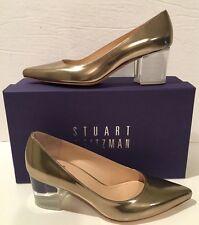 Stuart Weitzman FirstClass Aurum Metal Mirror Metallic Leather Lucite Heel Sz 6