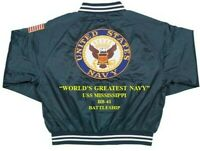 USS MISSISSIPPI  BB-41 NAVY BATTLESHIP DELUXE EMBROIDERED 2-SIDED SATIN JACKET