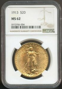 1913 $20 Gold Saint Gaudens Gold Double Eagle MS 62 NGC, Nice Surfaces!