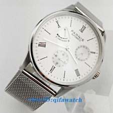 42mm PARNIS white dial date power reserve ST1780 automatic mens watch 2493