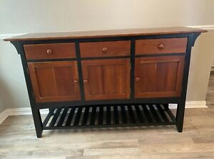 ETHAN ALLEN CHERRY & BLACK AMERICAN IMPRESSIONS MISSION SERVER BUFFET CONSOLE