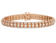 """Men's Tennis Diamond Bracelet in 14k Rose Gold 9.7 Ct Prong Set 9mm 8"""""""