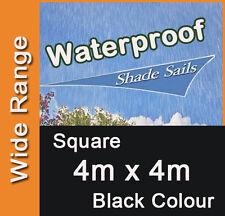 Waterproof Shade Sail Black Colour Square 4m x 4m, 4x4m, 4 x 4m, 4 by 4m, 4mx4m