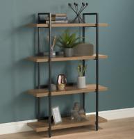 4 Tier Contemporary Industrial Bookshelf/Shelving Unit Oak finish 1370mmH
