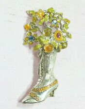 Lace Boot Pin Brooch Bouquet Filled Victorian Style High