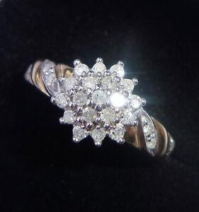 9ct Gold 0.25ct Diamond Cluster Ring, 1/4 Carat, Size N