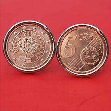 Gorgeous 2007 Austria 5 Euro Cent BU Uncirculated Floral Coin Cufflinks NEW