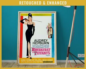 Breakfast at Tiffanys Poster - Audrey Hepburn Retouched and Enhanced Vintage
