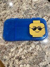 "LEGO MiniFigure Storage Case 11"" x 6"" Blue Lego Pencil Box - Authentic"